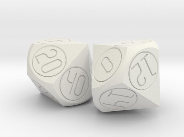 Alternative percentile dice set in White Natural Versatile Plastic