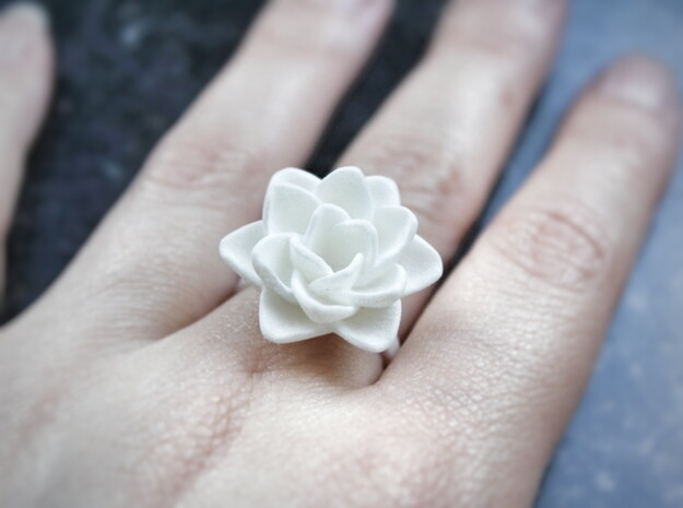 Rose Ring 17.3mm in White Strong & Flexible Polished: 7 / 54
