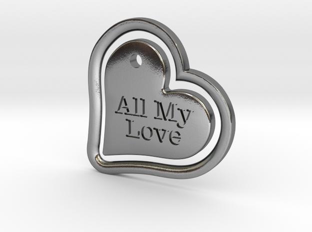 Heart in my Heart in Polished Silver