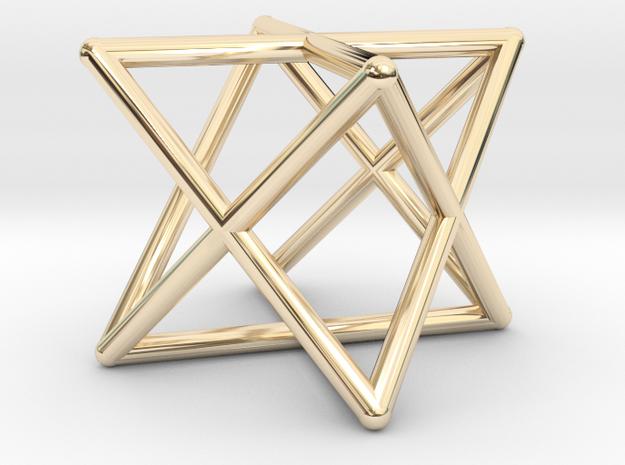 Merkaba Round Wires 1.5cm Cube in 14K Yellow Gold