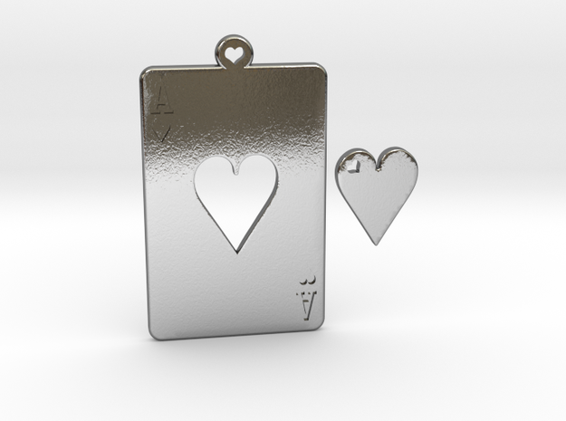 Ace and Heart in Polished Silver