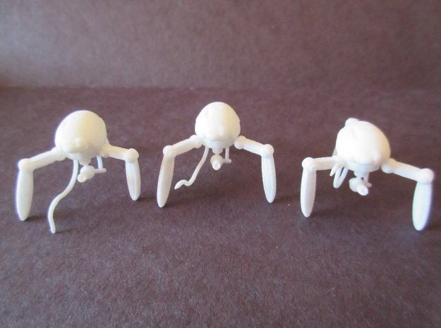 Three 21mm Support Tripods in White Processed Versatile Plastic