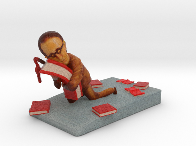 """""""Book Lover- by John Nickle - 4.25"""" Tall Sculpture in Full Color Sandstone"""