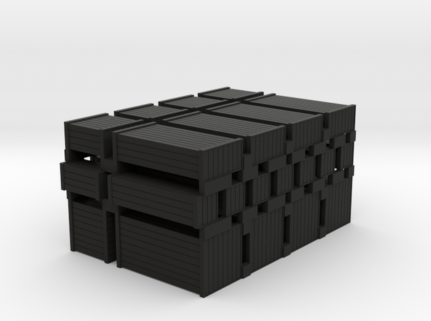 Wood Crates Various Sizes - HO 87:1 Scale in Black Natural Versatile Plastic