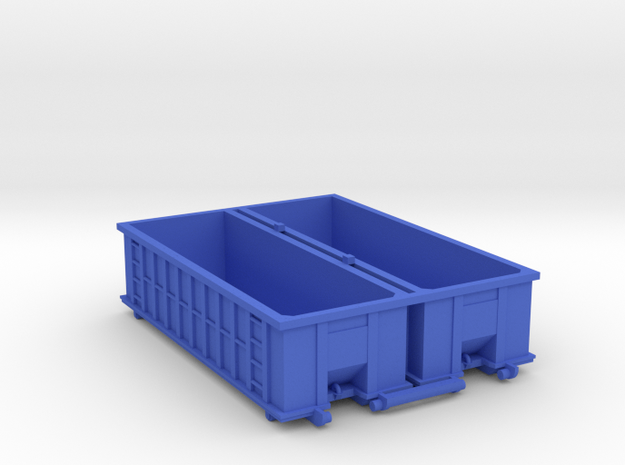Industrial Dumpster 30yd (Qty 2) - HO 87:1 Scale in Blue Processed Versatile Plastic