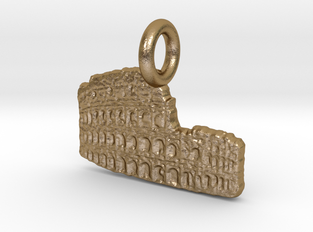 Colosseum, Rome, Italy Charm in Polished Gold Steel