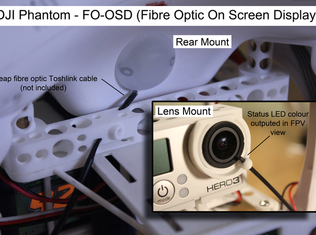 DJI Phantom FO-OSD (Fibre Optic OSD) - d3wey 3d printed