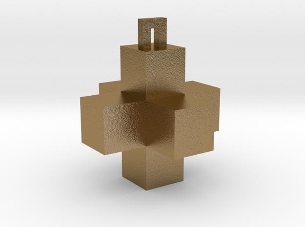 Cross Pendant in Polished Gold Steel