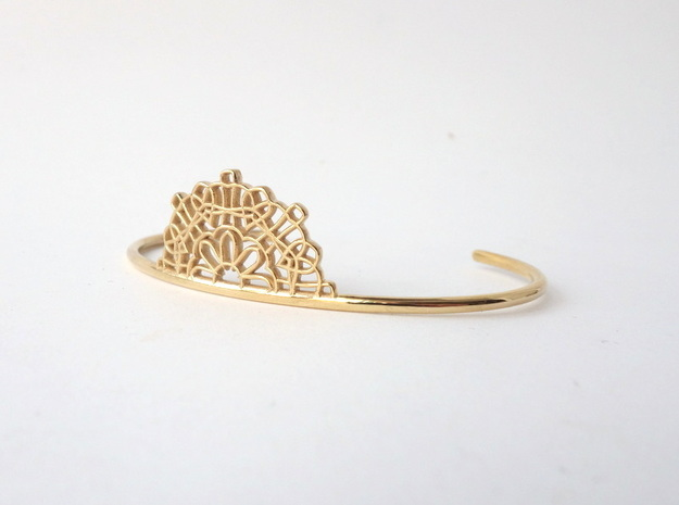 Half Lace Cuff - Medium in Rhodium Plated Brass