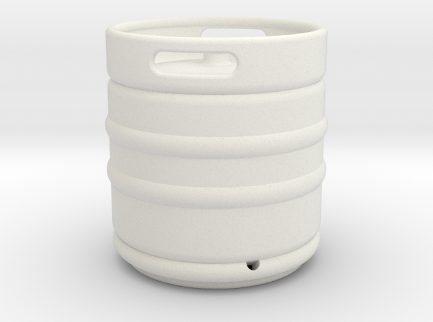 1/10 Scale Beer keg (small) in White Natural Versatile Plastic