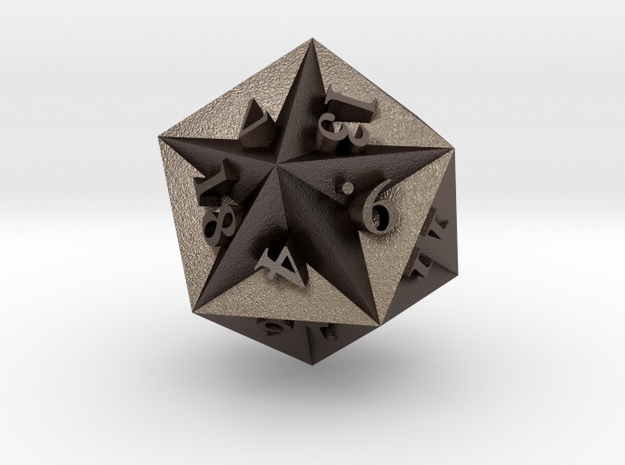 Great Dodecahedron - d20 in Polished Bronzed Silver Steel