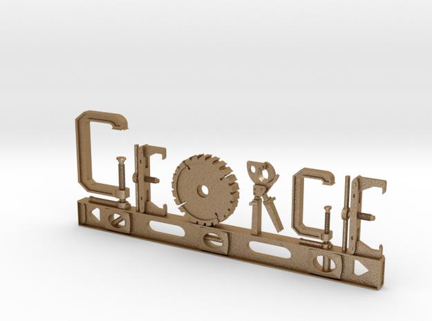 George Nametag in Matte Gold Steel