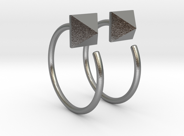 Pyramid Stud Mini Hoops in Natural Silver