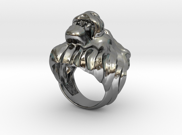 Lion ring size 7- in Fine Detail Polished Silver