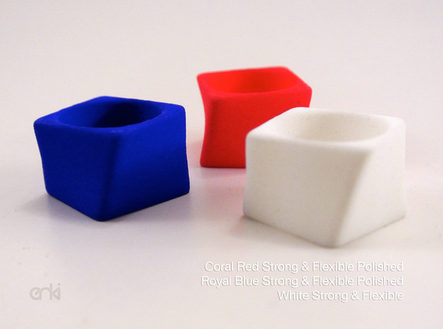 Twisted Cube - Ring - size54 - diam17,2mm in White Natural Versatile Plastic