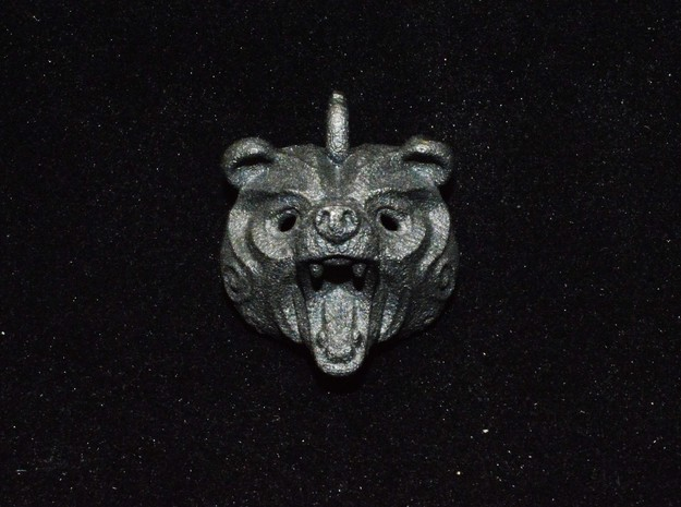Grizly Bear Pendant in Matte Black Steel