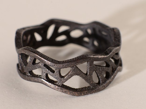 Web Ring_Size7 in Polished Bronzed Silver Steel