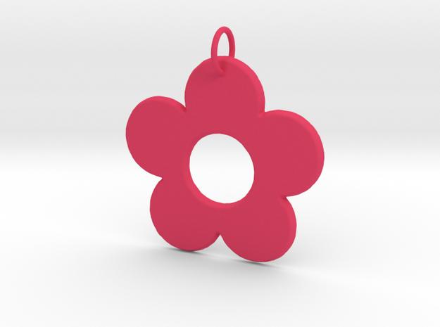 Groovy Flower Pendant in Pink Processed Versatile Plastic