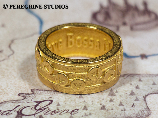Ring - New Wave Bossa Nova 3d printed Polished Gold Steel