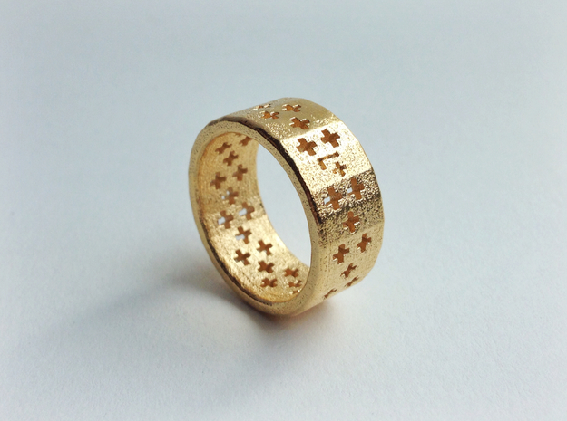 Plus Pattern Ring 3d printed Gold Plated Glossy Steel