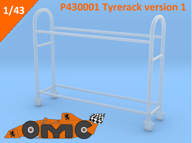OMCP430001 Tyre rack version 1 (1/43) in Frosted Ultra Detail