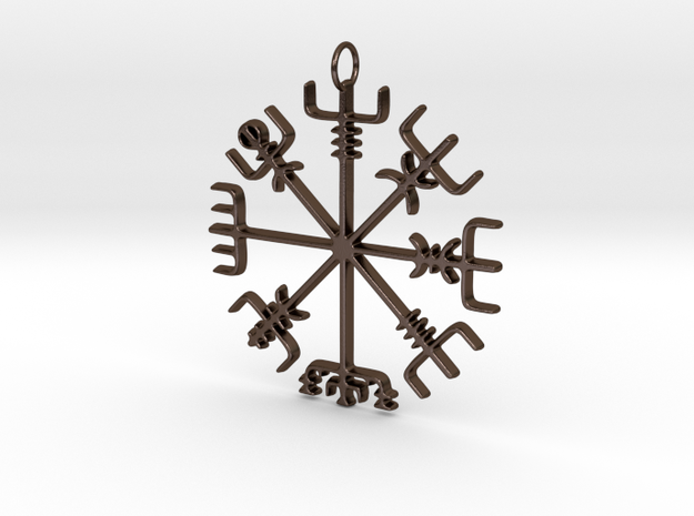 Vegvísir Pendant in Polished Bronze Steel