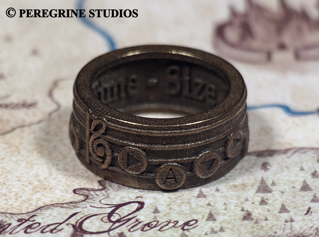 Ring - Song of Time 3d printed Polished Bronze Steel