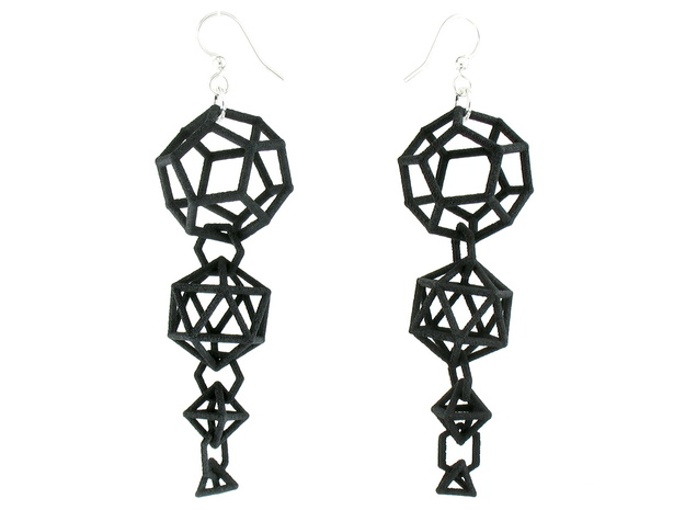Platonic Progression Earrings - Clean 3d printed Earrings printed in Black Strong and Flexible, with fishhook earwires added