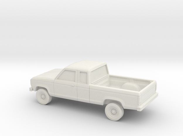 1/64 1983-88 Ford Ranger Ext Cab in White Natural Versatile Plastic
