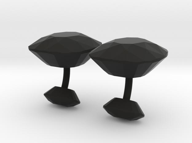 Cufflink diamond in Black Natural Versatile Plastic