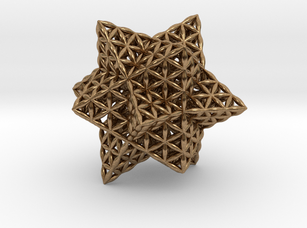 """Stellated Flower of Life Vector Equilibrium 2.3"""" in Natural Brass"""