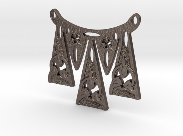 Dagger Points Warrior Necklace in Polished Bronzed Silver Steel