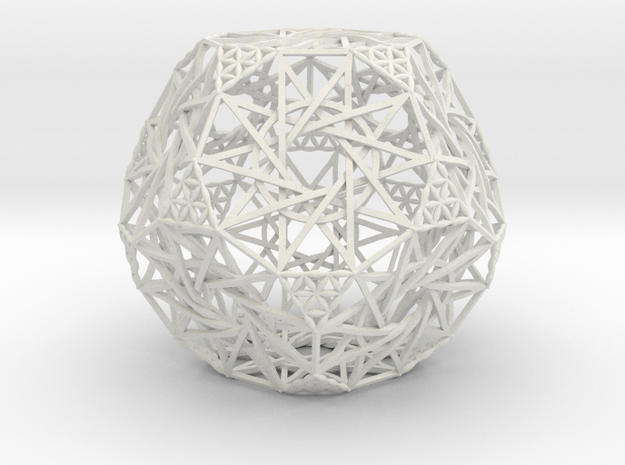 "Truncated Dodecahedron 4.2"" in White Natural Versatile Plastic"