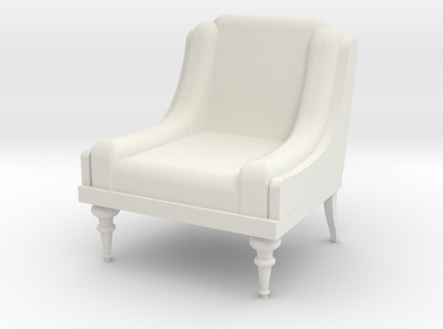 Low Armchair 1:25  in White Strong & Flexible