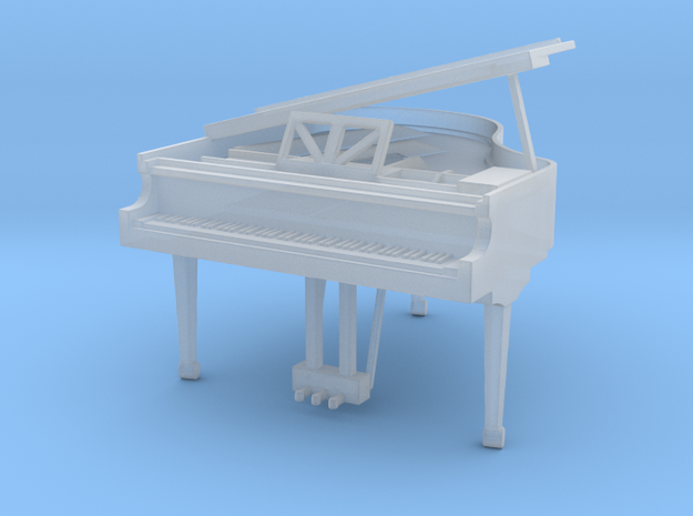 Miniature 1:48 Baby Grand Piano in Smooth Fine Detail Plastic