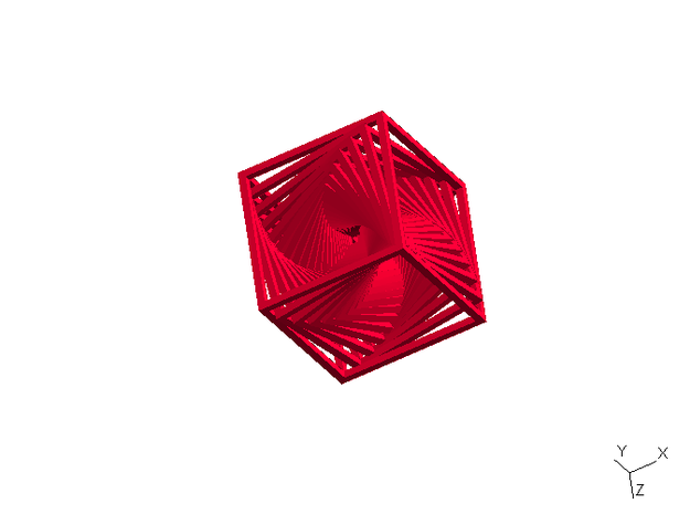 Twisted Frame Thingy - small in Red Processed Versatile Plastic