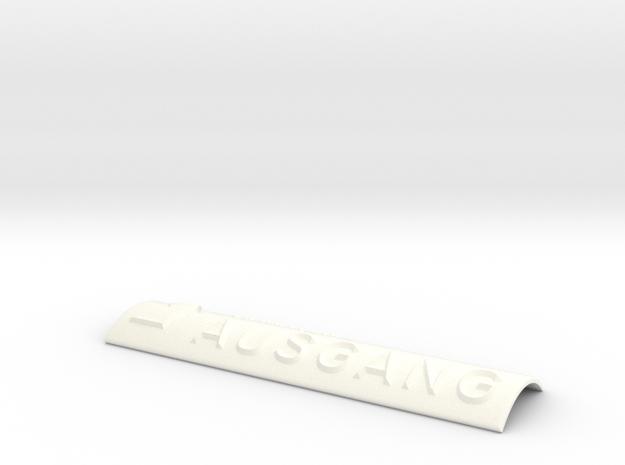 AUSGANG mit Pfeil nach rechts und nach oben in White Processed Versatile Plastic