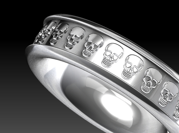 Skull Ring Size 10  3d printed Rendered look of the ring.