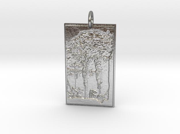 Crux Pendant in Natural Silver