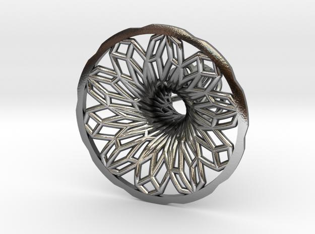 Penrose Vortex Cufflink Alternative Version in Polished Silver