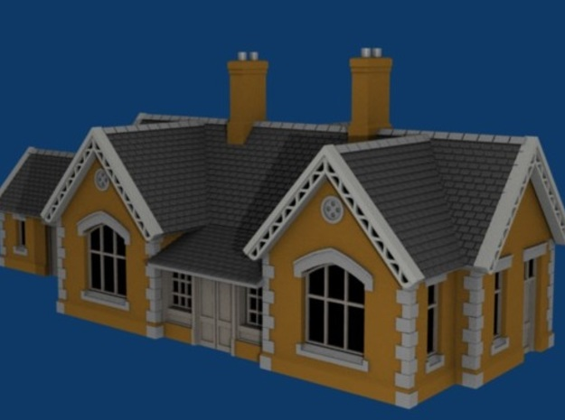 Carlisle & Settle Line - Small Station - T - 1:450 3d printed A render of the model.
