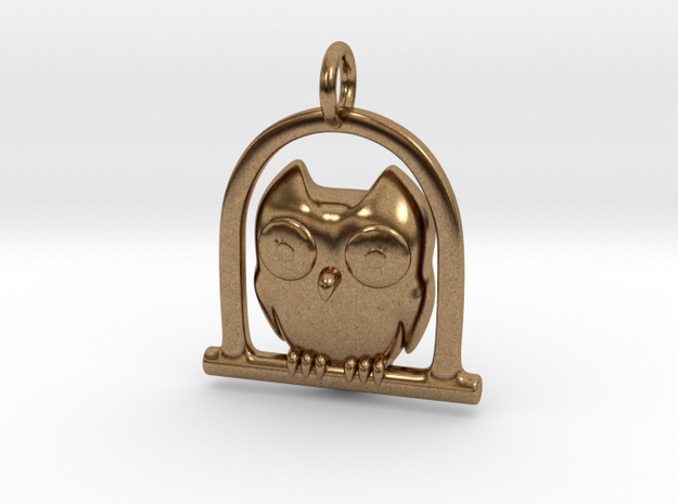Owl Pendant in Natural Brass