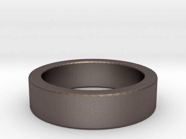 Basic Ring US5 1/4 in Polished Bronzed Silver Steel