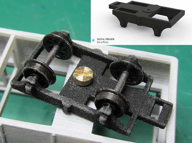 Railcar Bogie (Part R4) in Black Natural Versatile Plastic