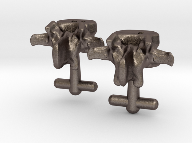 Lumbar Vertebra Cufflinks Inscribed with P and N in Polished Bronzed Silver Steel