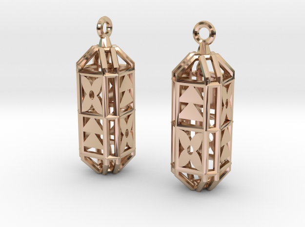 Octagon Cage Earrings in 14k Rose Gold Plated Brass