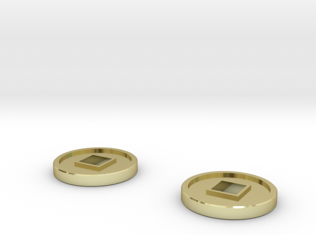 7mm Coins (Type2), x2 in 18k Gold Plated Brass