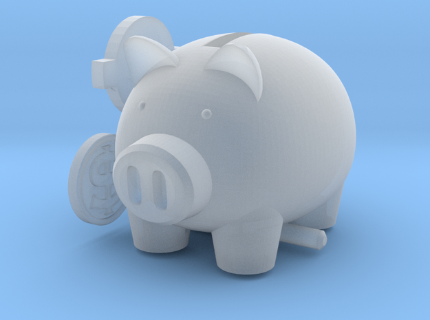 Micro Piggy Bank (for 7mm Coins) in Smooth Fine Detail Plastic