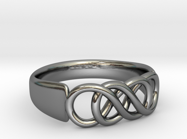 Double Infinity Ring 16.5mm size 6 in Fine Detail Polished Silver