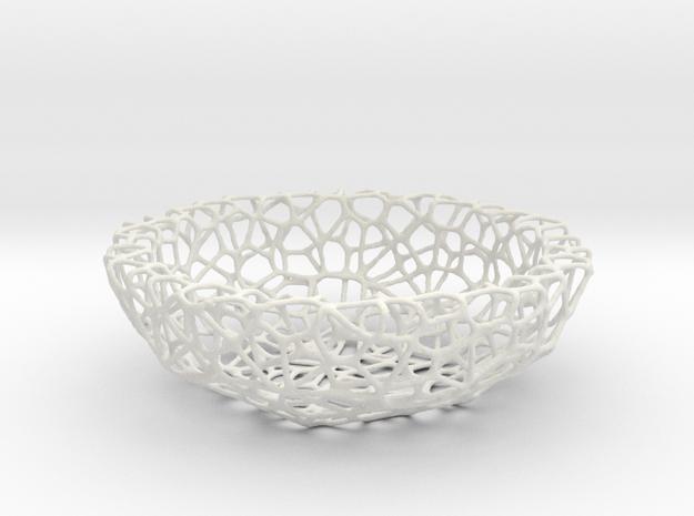 Bowl (19 cm) - Voronoi-Style #1  in White Natural Versatile Plastic